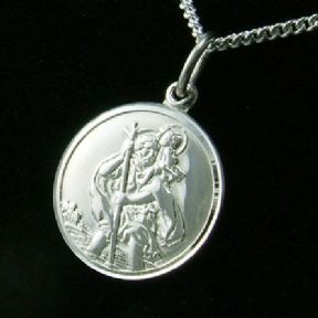 St Christopher Personalised Silver Pendant Necklace, Lady / Child, ref. SCPC